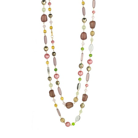 TAZZA WOMEN'S GOLD-TONE GLITTER CRYSTALS FAUX PEARLS AND BEADS LONG NECKLACE #N12733 GLD GRN - Faux Pearl Drop Necklace