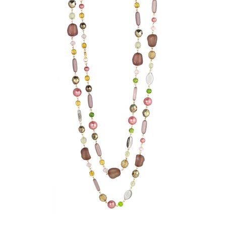 TAZZA WOMEN'S GOLD-TONE GLITTER CRYSTALS FAUX PEARLS AND BEADS LONG NECKLACE #N12733 GLD GRN - Beaded Necklace Designs