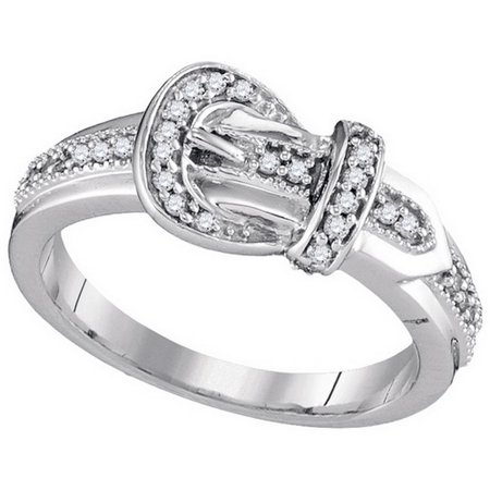 Size - 7 - Solid 10k White Gold Round White Diamond Channel Set Buckle Fashion Ring (1/5 cttw)