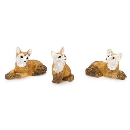 Fairy Garden Animals: Resin Mini Fox Figurines, 3 pack
