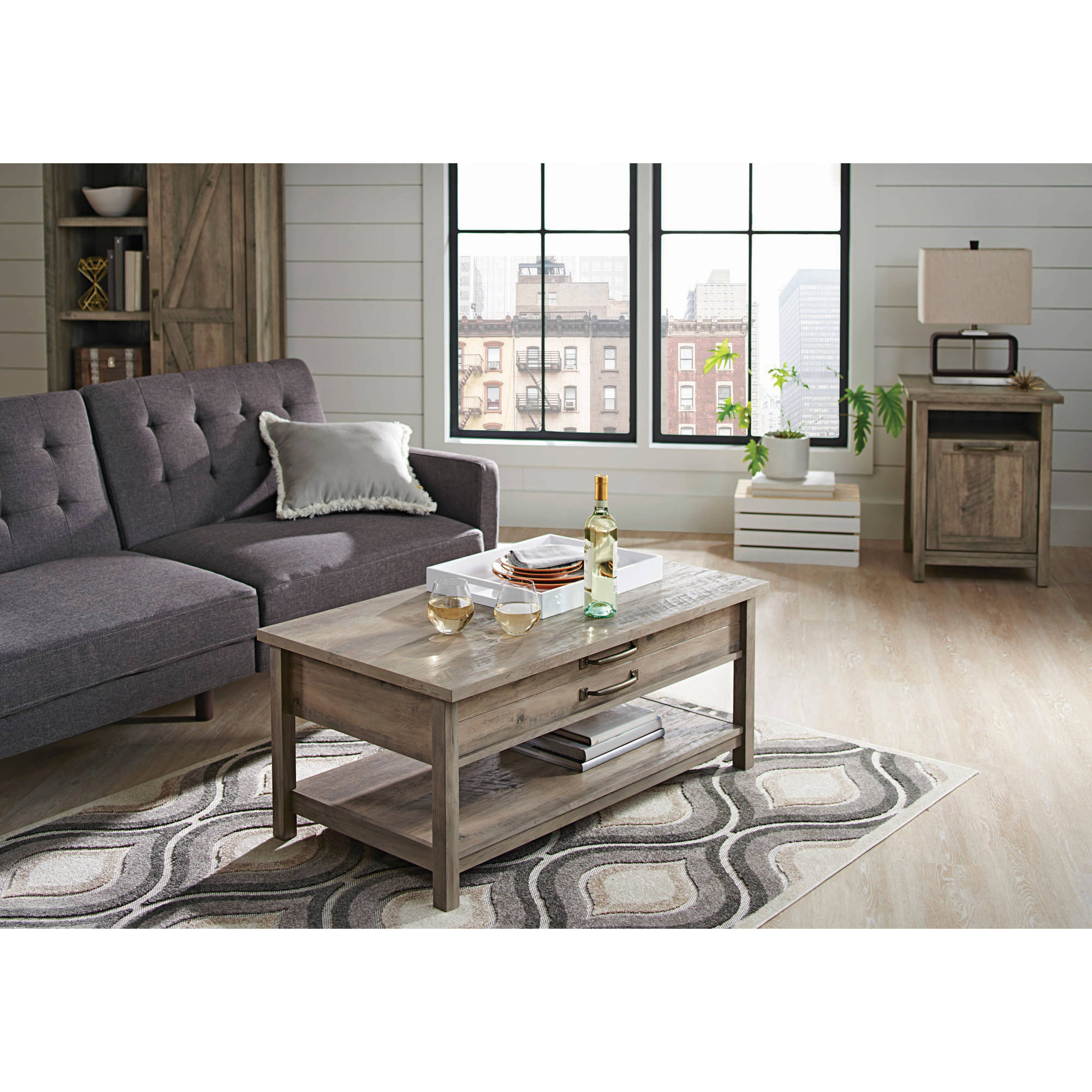 Better Homes U0026 Gardens Modern Farmhouse Lift Top Coffee Table, Rustic Gray  Finish