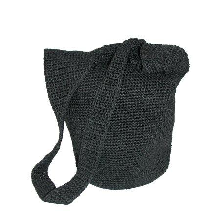 Women's Crocheted Sling Shoulder Handbag Hand Crocheted Raspberry