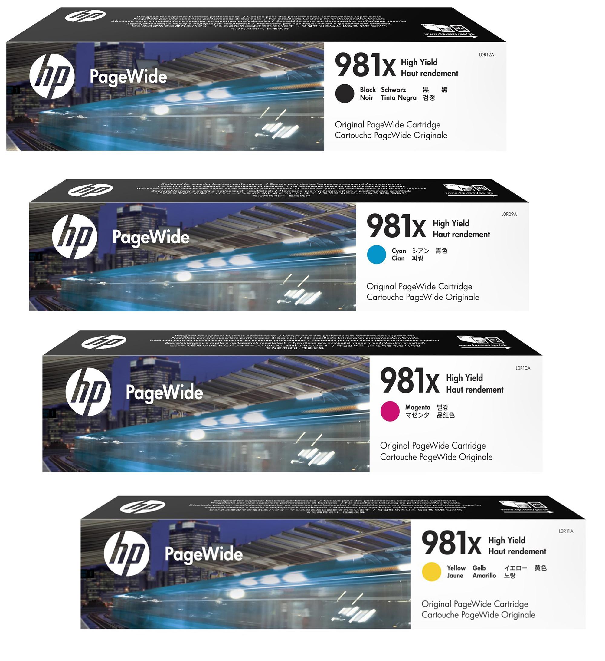 HP 981X Original PageWide Cartridge 4-Color Set,HP L0R12A, L0R09A, L0R10A, L0R11A