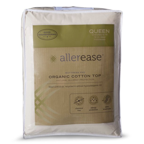 AllerEase Organic Cotton Allergy Protection Mattress Pad ...