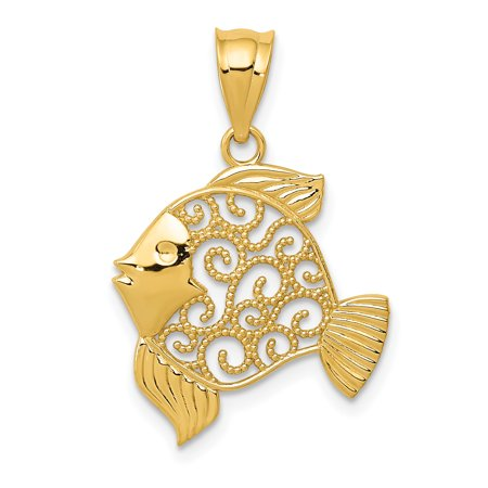14k Yellow Gold Filigree Fish Pendant Charm Necklace Sea Life Fine Jewelry Gifts For Women For Her - image 6 de 6