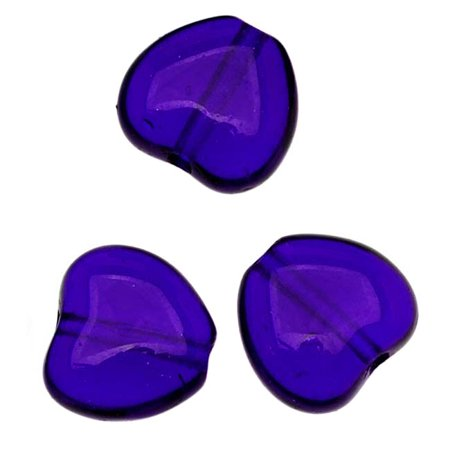 Czech Glass - Heart Shaped Beads 8.5x7.5mm 'Cobalt' (25)