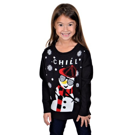 KESIS Children Chill Gangsta Snowman Ugly Christmas Sweater - Ugly Christmas Sweaters For Kids