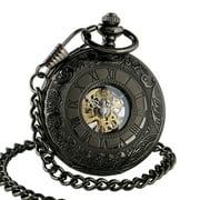 Black Dial Half Hunter Mechanical Pocket Watch White Hands Roman Numerals Mens