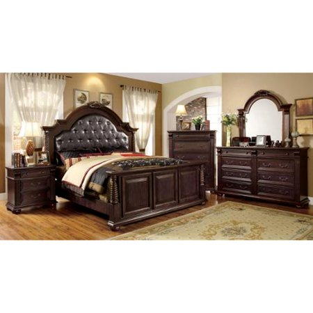 Furniture of America Angelica English Style Brown Cherry 4-piece Bedroom Set Queen