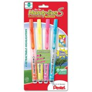 Pentel Handy-line S Retractable Highlighter, Chisel Tip, 4 Assorted Colors