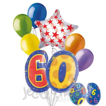 8 pc 60th Birthday Theme Balloon Bouquet Party Decoration Number Primary Color](Theme For 60th Birthday)