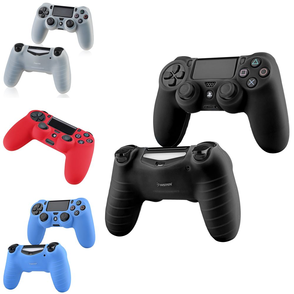PS4 Bundle, by Insten 4 - Pack (Black + Clear White + Blue + Red) Silicone Skin Case For Sony PS4 PlayStation 4 Remote Controller