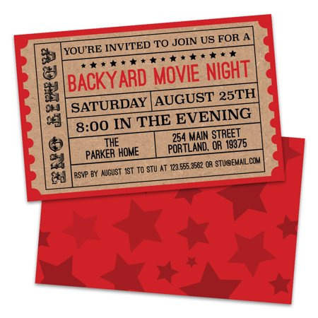 Personalized Backyard Movie Night Invitations