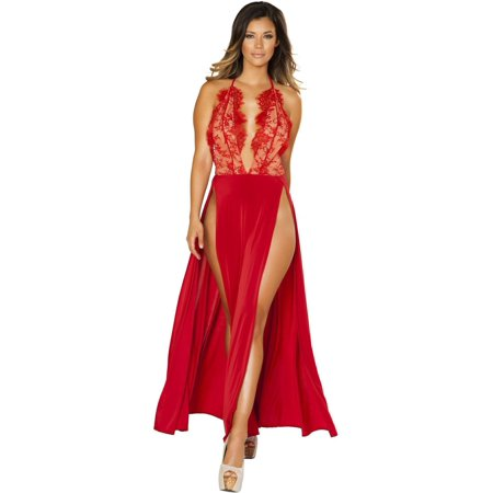432ac7b75bc Roma RM-3530 Maxi Length High Slit Dress with Eyelash Lace Detail Small    Red ...