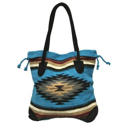 Monterrey Ladies Tote Purse Handwoven Southwestern Aztec Print Suede Handles