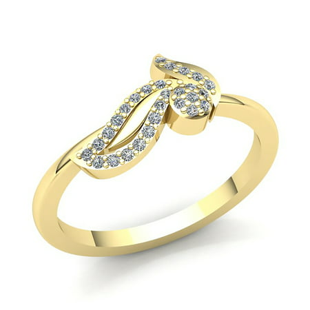 Genuine 0.15ct Round Cut Diamond Ladies Bridal Leaf Anniversary Wedding Band Solid 18K Rose, White or Yellow Gold F VS1