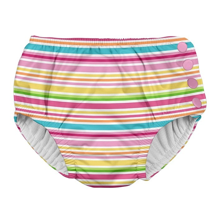Snap Reusable Absorbent Swimsuit Diaper-Pink Ministripe - 24mo