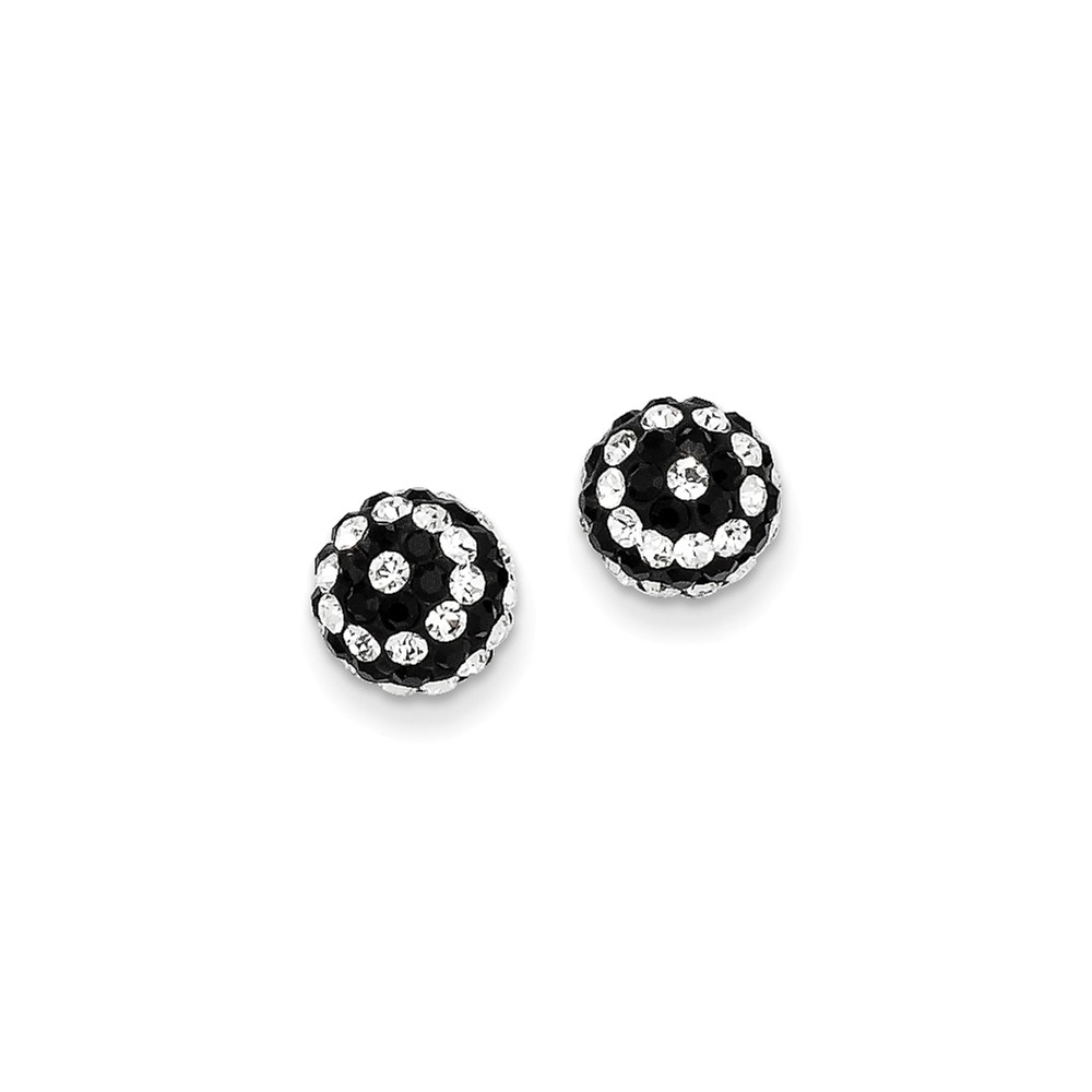 14k Yellow Gold Crystal Black and White Stripe 8mm Post Stud Earrings.