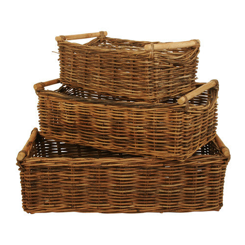WaldImports 3 Piece Rectangle Rattan Storage Basket Set