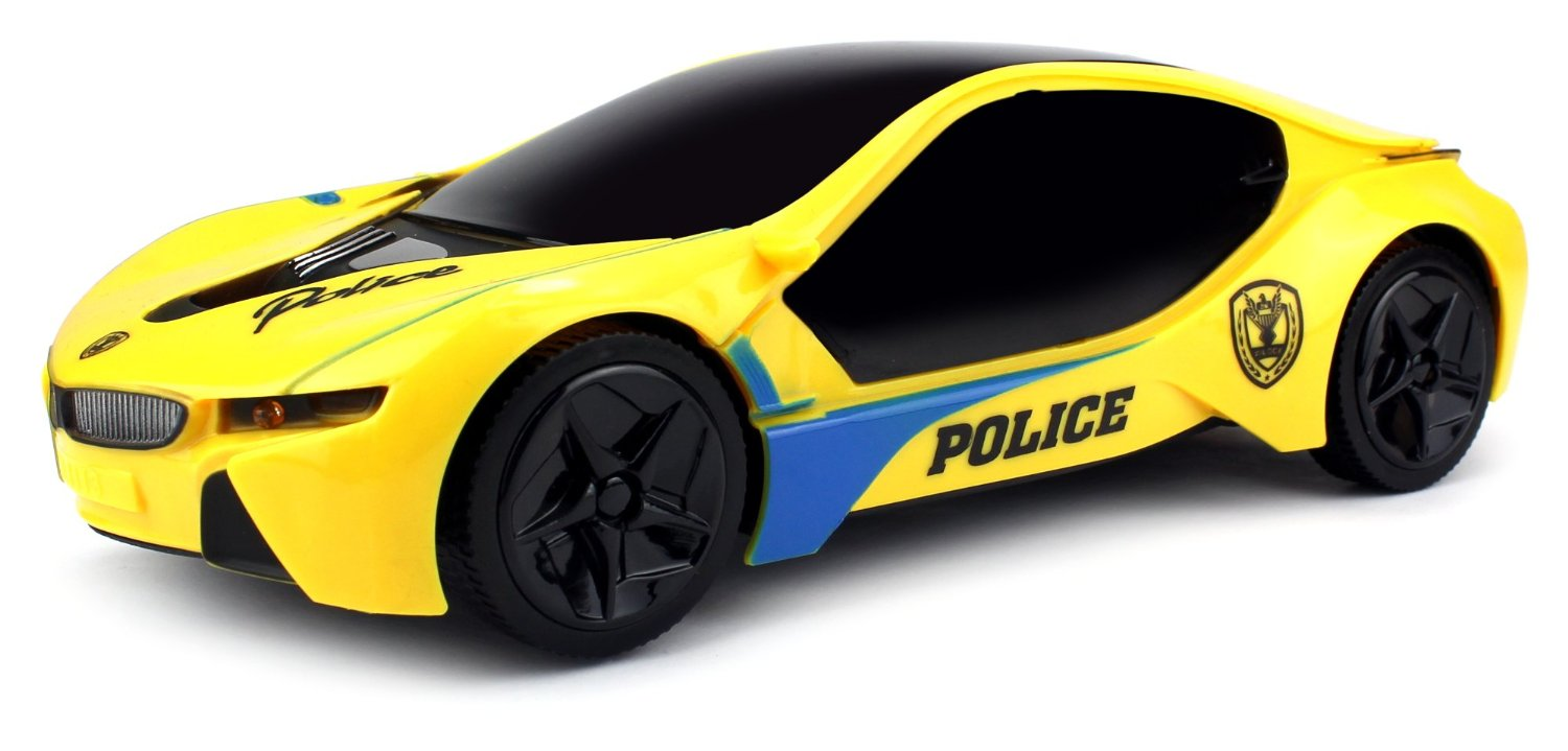 Velocity Toys Electric Future Police 1:18 Scale Battery Operated Bump and Go Toy Car w  Flashing Lights,... by Velocity Toys