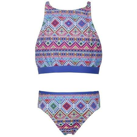 7726c8020b078 Sun Emporium - Sun Emporium Little Girls Blue Pink Tribal Geo Print Halter Top  Bikini Set - Walmart.com