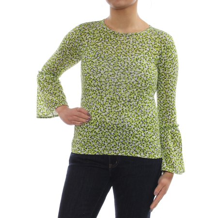 MICHAEL KORS Womens Green Printed Bell Sleeve Jewel Neck Top Petites  Size: (Michael Kors Green Top)