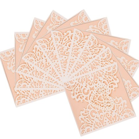 10 Pcs Vintage Square Laser Cut Hollow Wedding Invitations Cards Set Kit for Wedding Engagement Bridal Birthday Party Favors, Beige