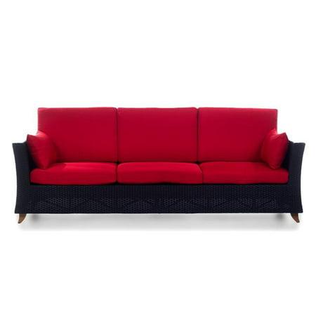 All Things Cedar PR90-R Rattan Deep Seating Sofa & Cushions, Red (Deep Cushion Sofa)