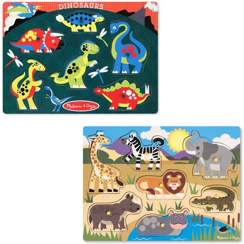 Generic Melissa & Doug Animals Wooden Peg Puzzles Set  -  Safari and Dinosaurs