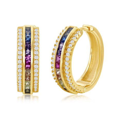 Sterling Silver 14K Gold over Silver Channel-Set w/ Rainbow CZ and w/White CZ Border Hoop Earrings