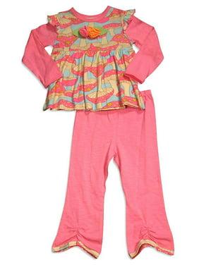 Baby Lulu - Little Girls Long Sleeve Jill Mushroom Pant Set MULTICOLOURED / 2T