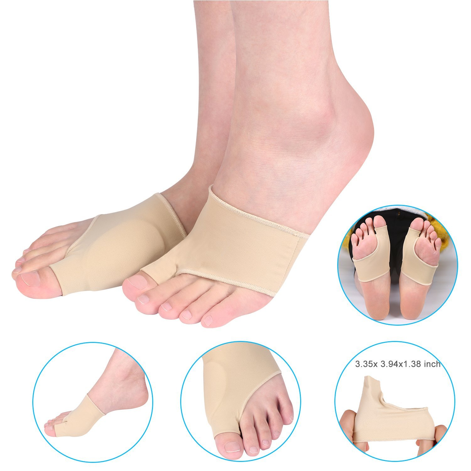 1 Pair Gel Pad Bunion Protector Sleeves Corrector Pad with Gel Toe Separators Spacers Straightener and Spreader 2 Booties For Hallux Valgus Bunion Pain Relief Proper Big Toe Alignment Wear with Shoes