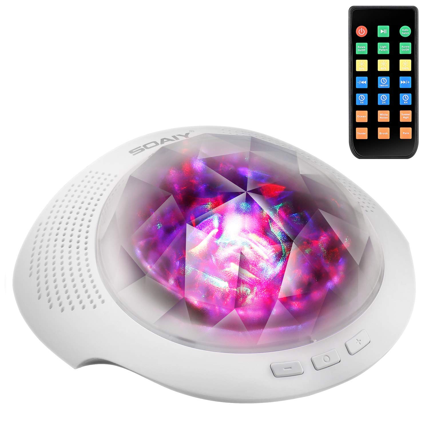 SOAIY Aurora Night Light Sound Machine Baby Projector Light Show Ocean Wave On Ceiling w/ Built-in Music Player Bluetooth Speaker, Timer, Remote Control for Nursery Bedroom Living Room, White
