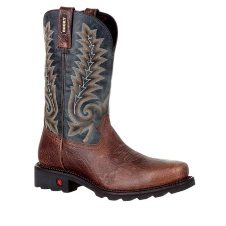 Rocky Western Boots Mens Gunnison Leather Steel Toe Brown Blue (Leather Steel Stirrups)