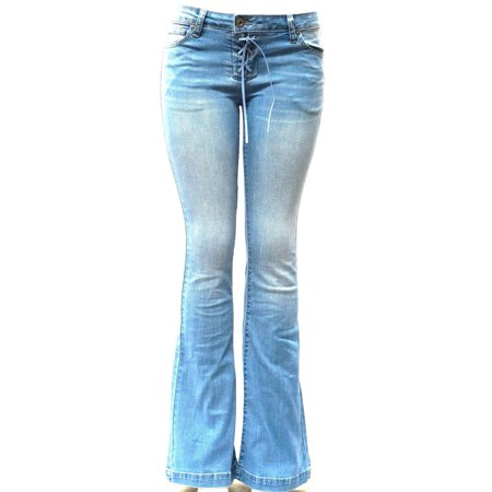 Flared Jeans Cut Pants - Wax Jean Women's Juniors 70s Trendy Slim Fit Flared Bell Bottom Denim Jeans Pants