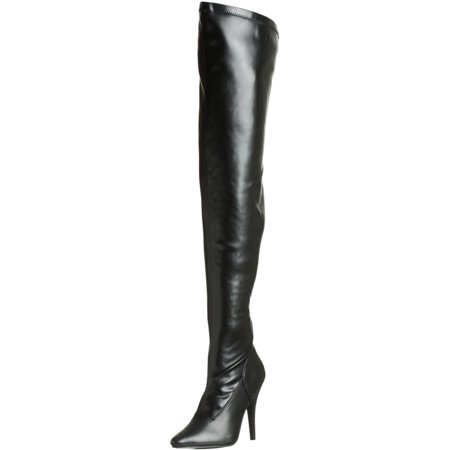 5 Inch Sexy Thigh Hi Boots Stretch Thigh Boot Black Stretch High Heel Boot