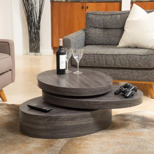 GDF Studio Denise Austin Home Genoa Small Oval Mod Rotatable Coffee Table