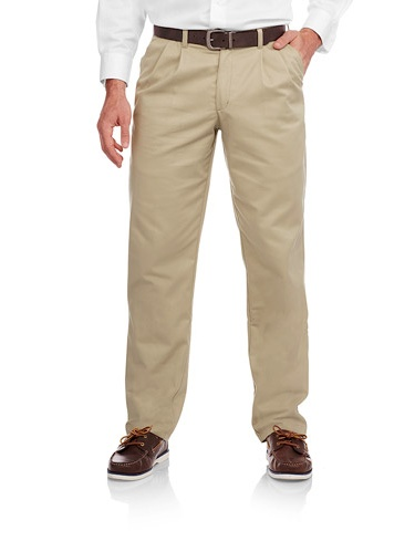 Big Men's Wrinkle Resistant Pleated 100% Cotton Twill Pant with Scotchgard