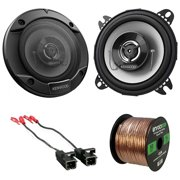 """1 Pair (QTY 2) of Kenwood 4"""" 210 Watts Peak Power 2-Way Coaxial Automotive Car Speakers with 2 x Metra Speaker Wire Harnesses, Enrock Speaker Wire (Bundle Fits Select GM Vehicles)"""