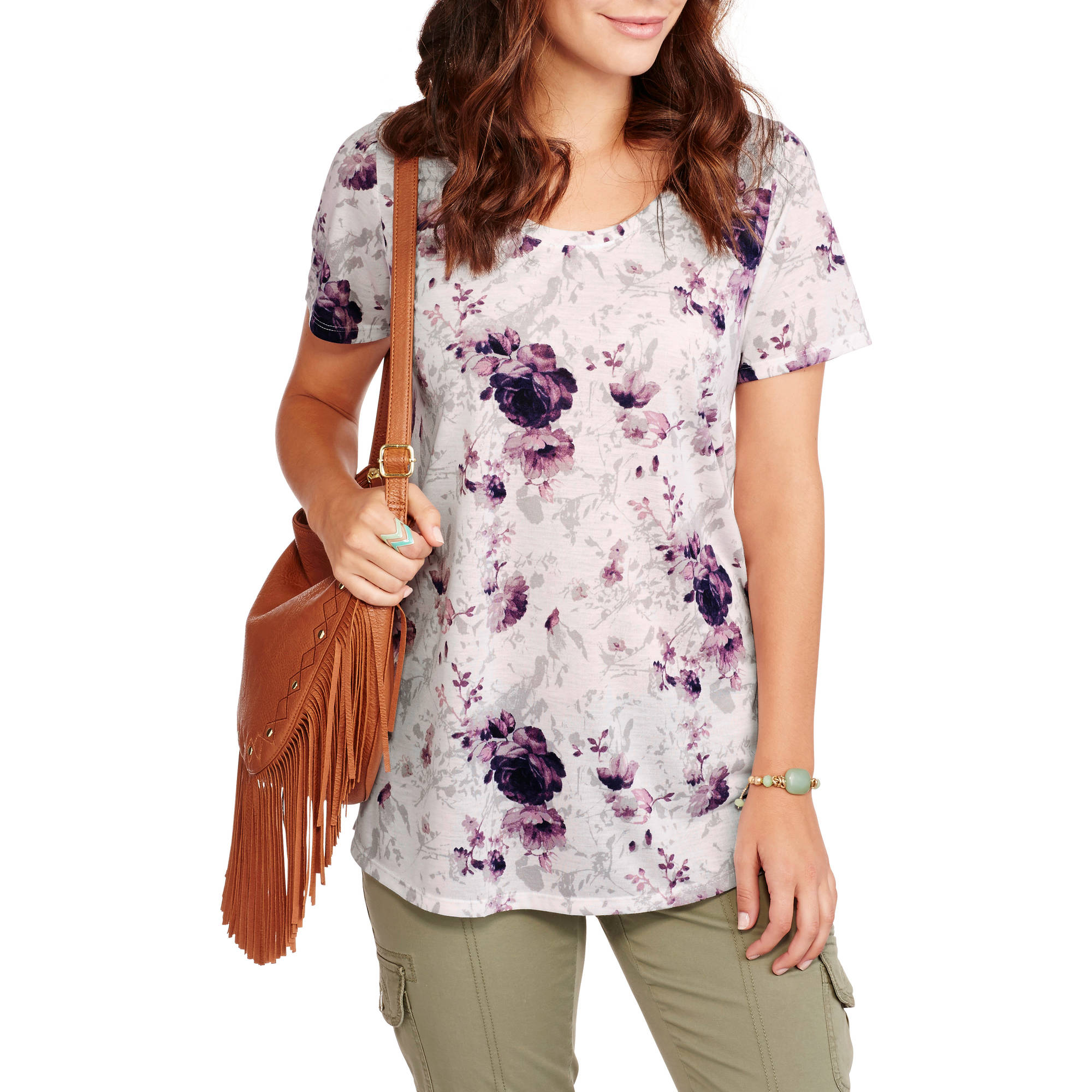 Faded Glory Women's Short Sleeve Scoopneck Floral Print T-Shirt