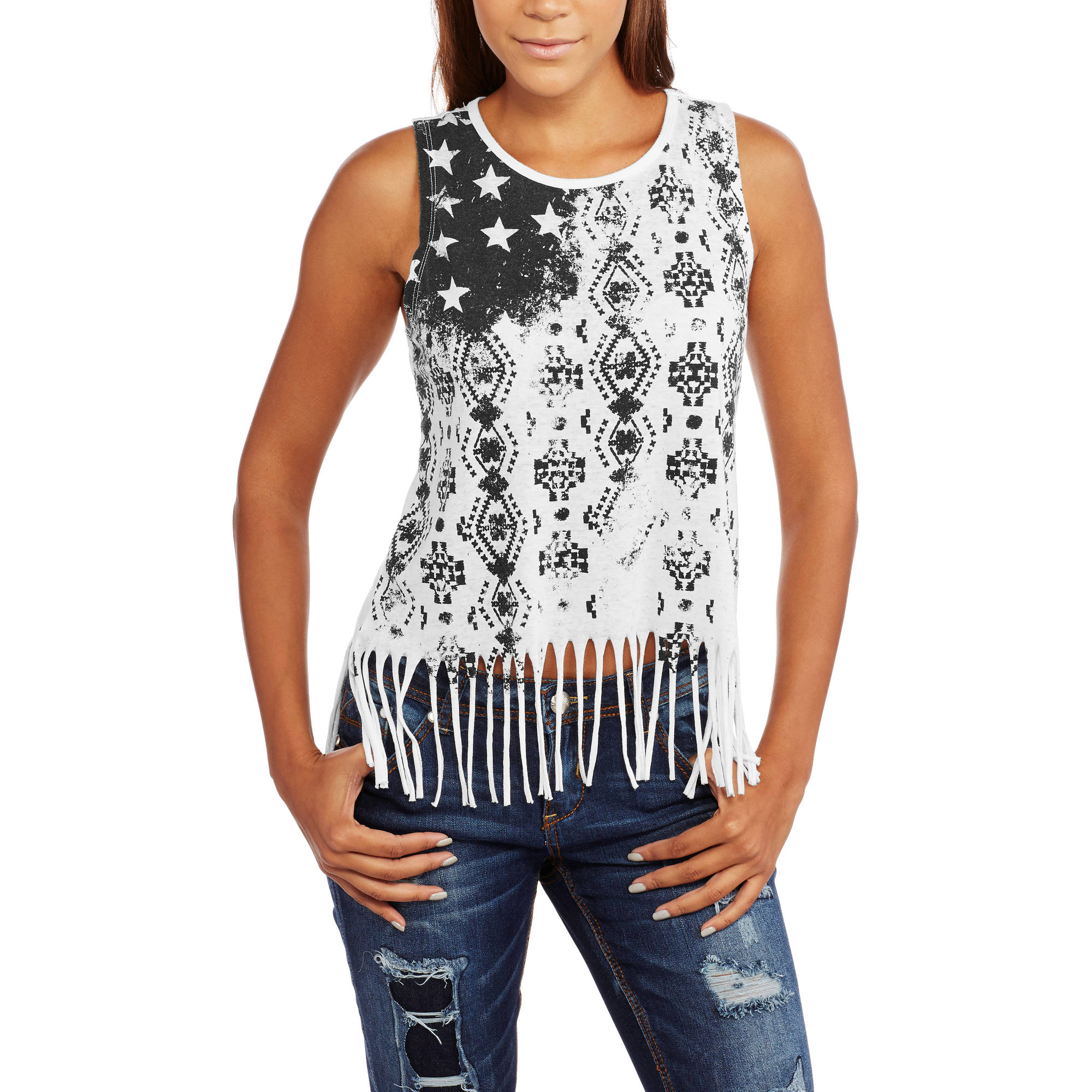 Almost Famous Juniors' Stud Front Graphic Muscle Tank with Fringe