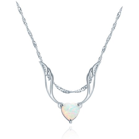 White Gold Plated Fire Opal Guardian Angel Necklace with Fire Opal