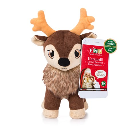 Portable North Pole Karamelli Reindeer Plush with Personalized Video Message from Santa