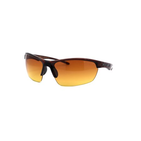 Xloop Mens Amber HD Lens Baseball Half Rim Warp Sunglasses All Brown