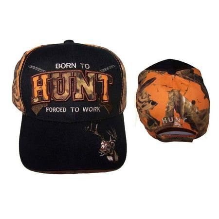 Born To Hunt Forced To Work Deer Hunting Baseball Caps Hats (HUNTCAP102)