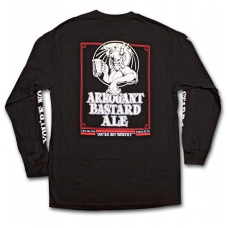 Arrogant Bastard 17392M Ale Not Worthy Long Sleeve Black Graphic T-Shirt, Medium