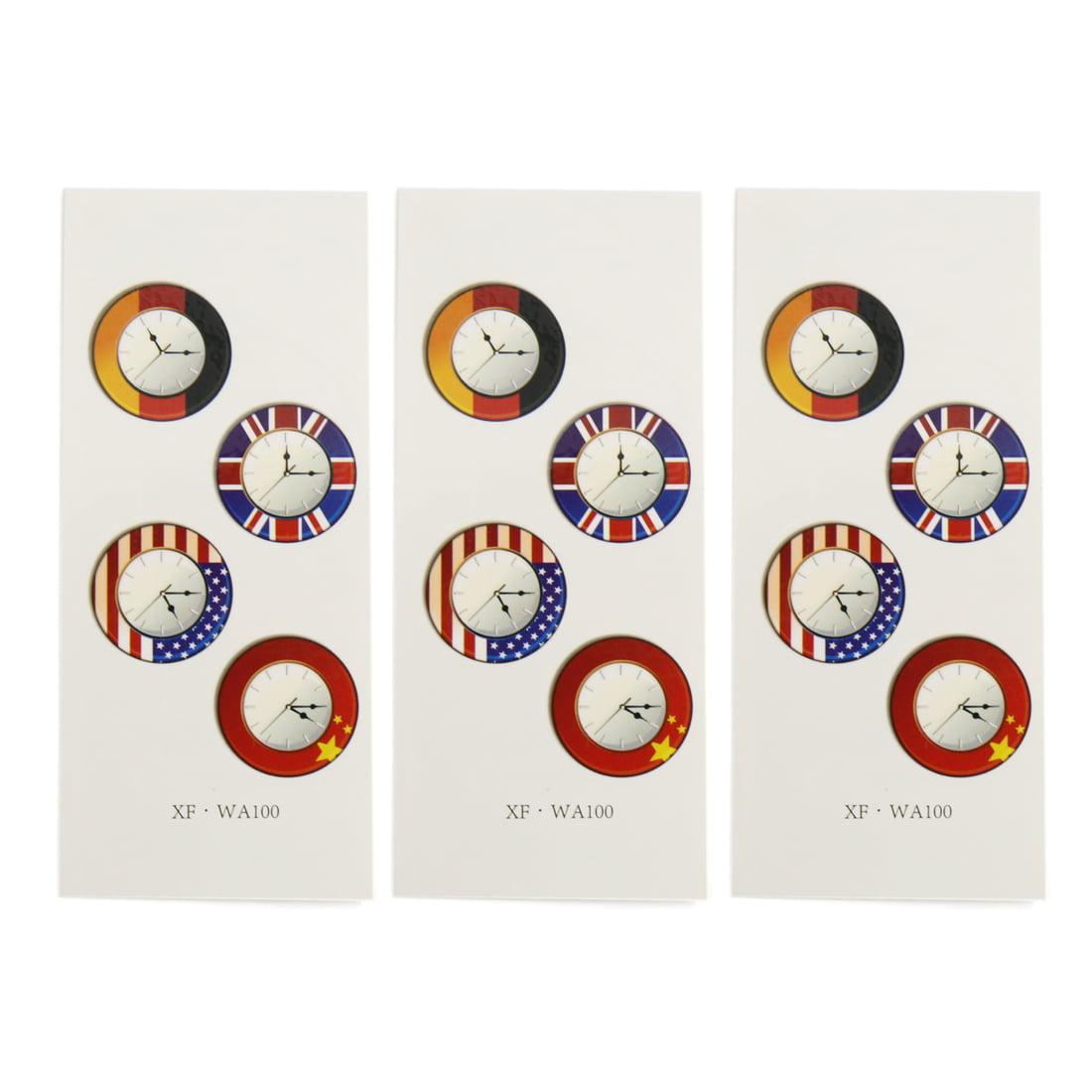 3 Pcs International Clocks Prints Temporary Tattoo Sticker Body Decal - image 1 of 1