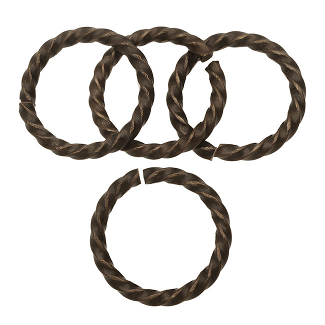 Vintaj Natural Brass, Open Roped Cable Jump Rings 14.5mm and 13 Gauge Thick, 4 Pieces