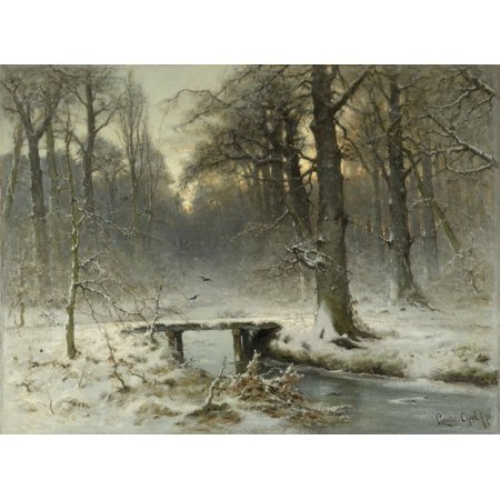 A January Evening In The Woods Of The Hague By Louis Apol 1875 Dutch Painting Oil On Canvas Winter Scene With Woods And Snow Covered Bridge Over A Stream Poster Print (Scene Bridge)