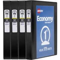 "Avery 1"" Economy View Binder, Round Ring, Black 4Pk"